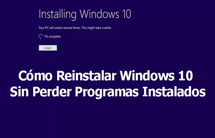 Installieren Sie Windows 10 neu, ohne installierte Programme zu verlieren 2021