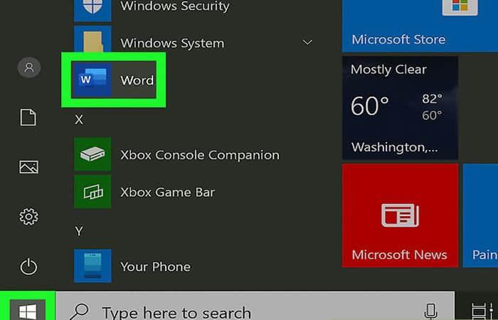 Öffnen Sie Microsoft Word