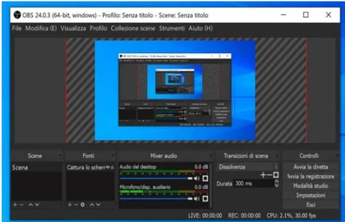 Aufnahmebildschirm auf W10 mit OBS