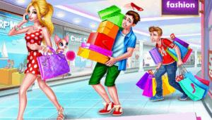 Mädchen im Einkaufszentrum.