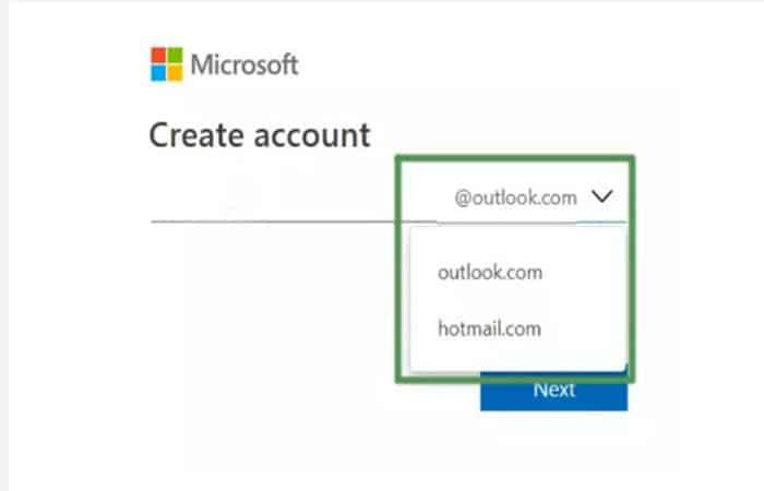 Wählen Sie @ Outlook.com
