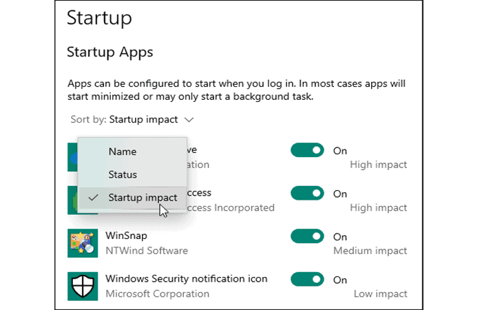 Apps nach Namen sortieren
