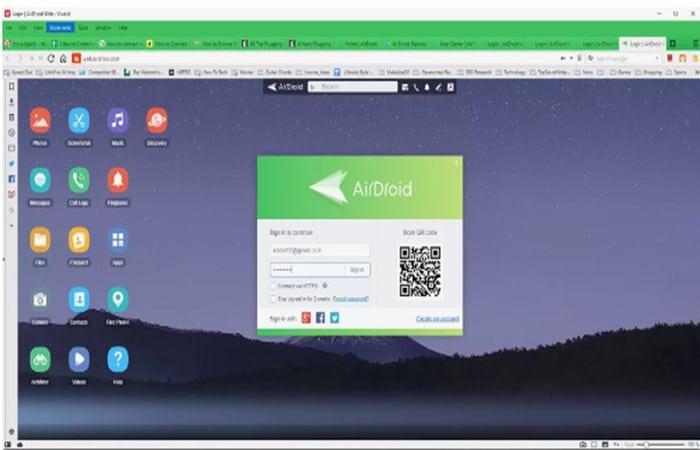 AirDroid-Web-Anmeldebildschirm