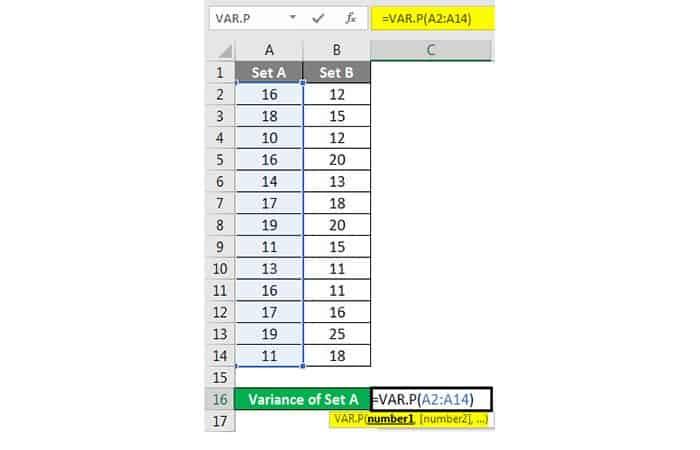 Wie erhalte ich die Varianz in Excel?  17
