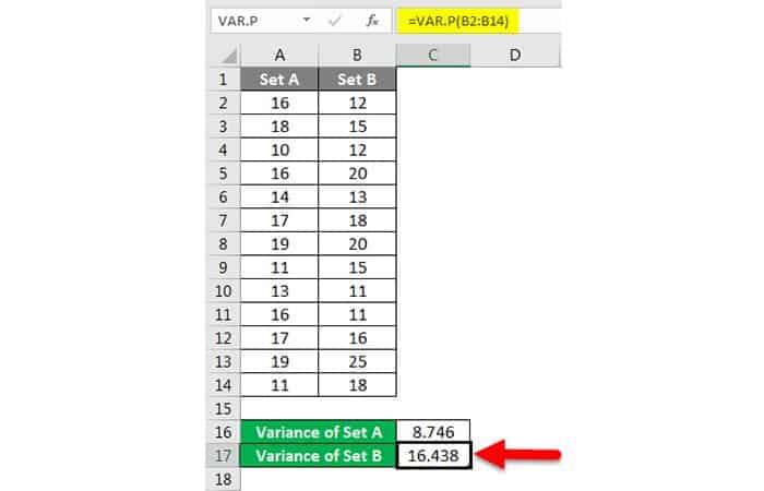 Wie erhalte ich die Varianz in Excel?  19