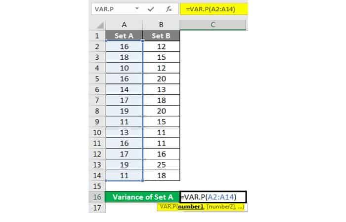 Wie erhalte ich die Varianz in Excel?  18