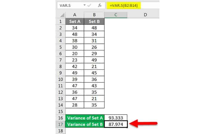 Wie erhalte ich die Varianz in Excel?  24