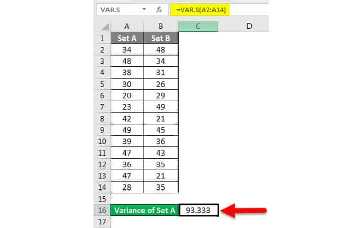Wie erhalte ich die Varianz in Excel?  2. 3