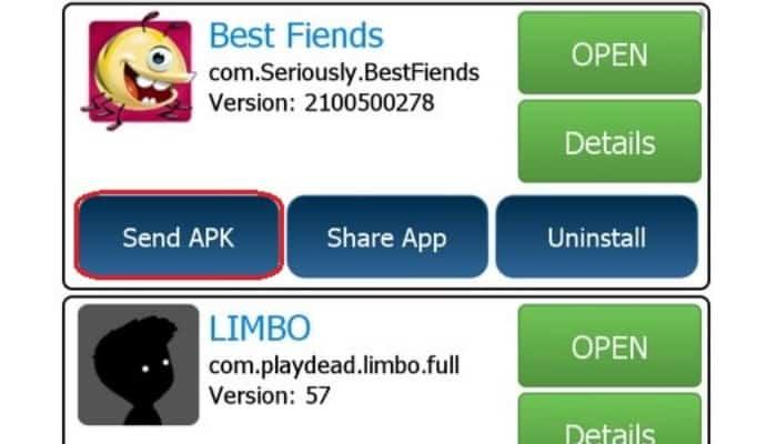 So teilen Sie Apps über Bluetooth