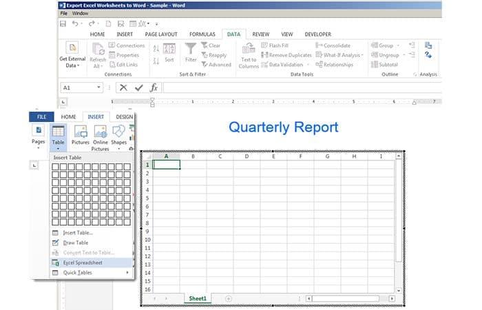 So konvertieren Sie eine Tabelle von Excel in Word