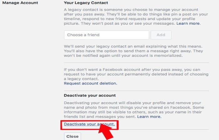 Come disattivare il tuo account Facebook