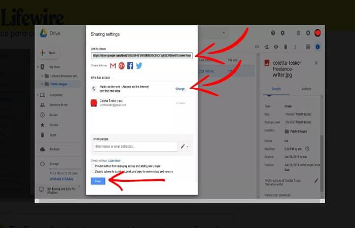 Capture d'écran montrant un lien à partager, copier et utiliser sur les réseaux sociaux pour télécharger des images sur Google en ligne