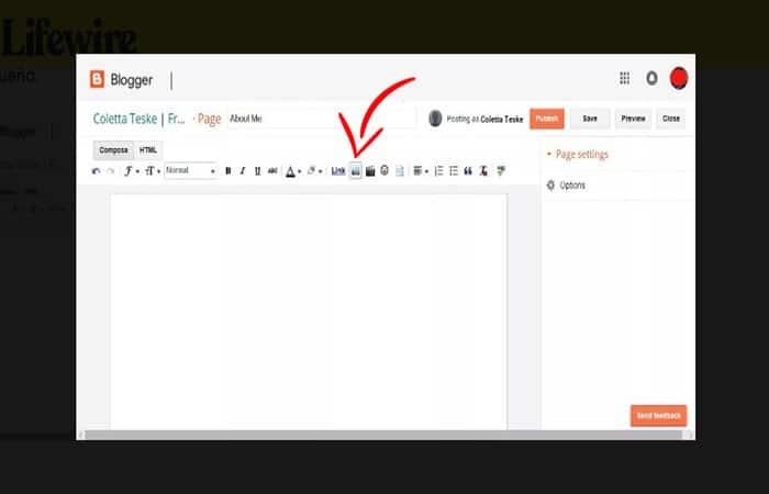 Capture d'écran montrant comment télécharger des images sur Google à l'aide de Blogger