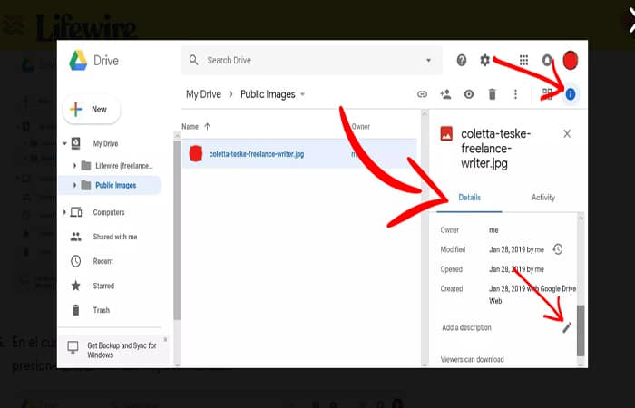 Capture d'écran montrant comment ajouter une description pour télécharger l'image sur Google