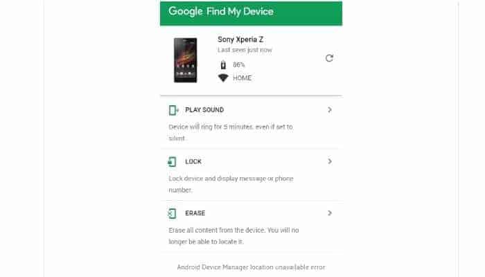 Speicherort des Android-Geräte-Managers nicht verfügbar 3